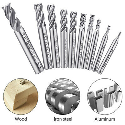10x 4-flute End Mill Bit Hss Cnc Drill Bits Cutter Tool Set For Wood Alloy Steel