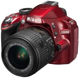 Nikon D3200 (Red) camera kit with original 18-55mm kit lens and 2 additional lenses.
