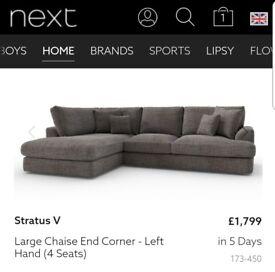 Next Large Grey Left Hand Sofa RRP £1799