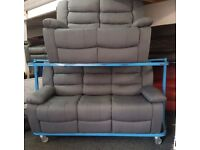 NEW - EX DISPLAY GREY ZURIC 3 + 2 SEATER RECLINER SOFAS 70%Off RRP