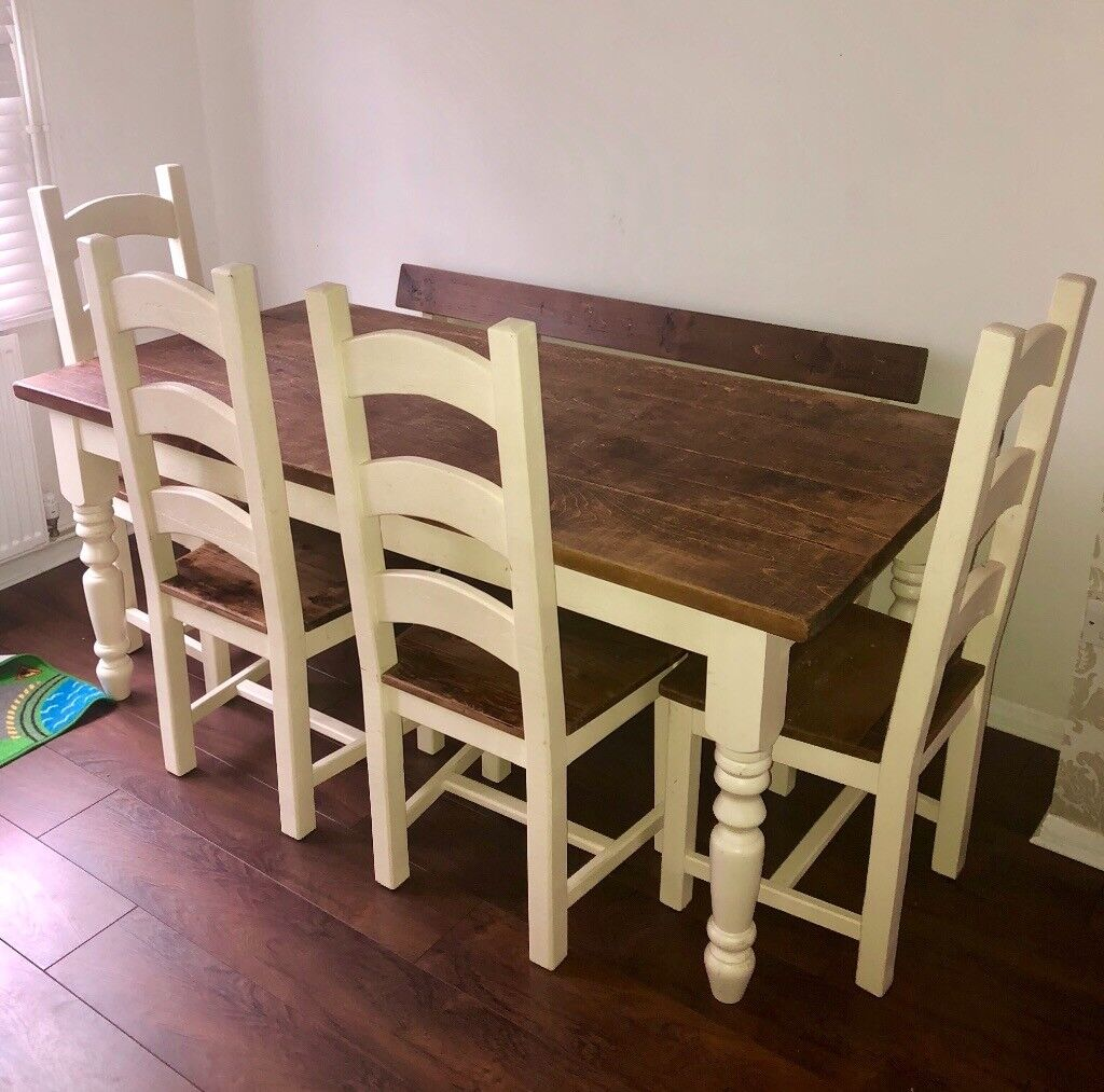 Handcrafted Solid Oak Table Chairs Bench