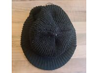 As New Mens One Size Black Peaked Beanie Hat | Warm Winter Thermal Knitted Army Ribbed | Leeds