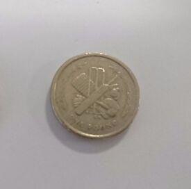1999 Isle of Man Cricket pound coin