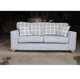 Brand new 3&2 seater sofa settees in grey checked fabric