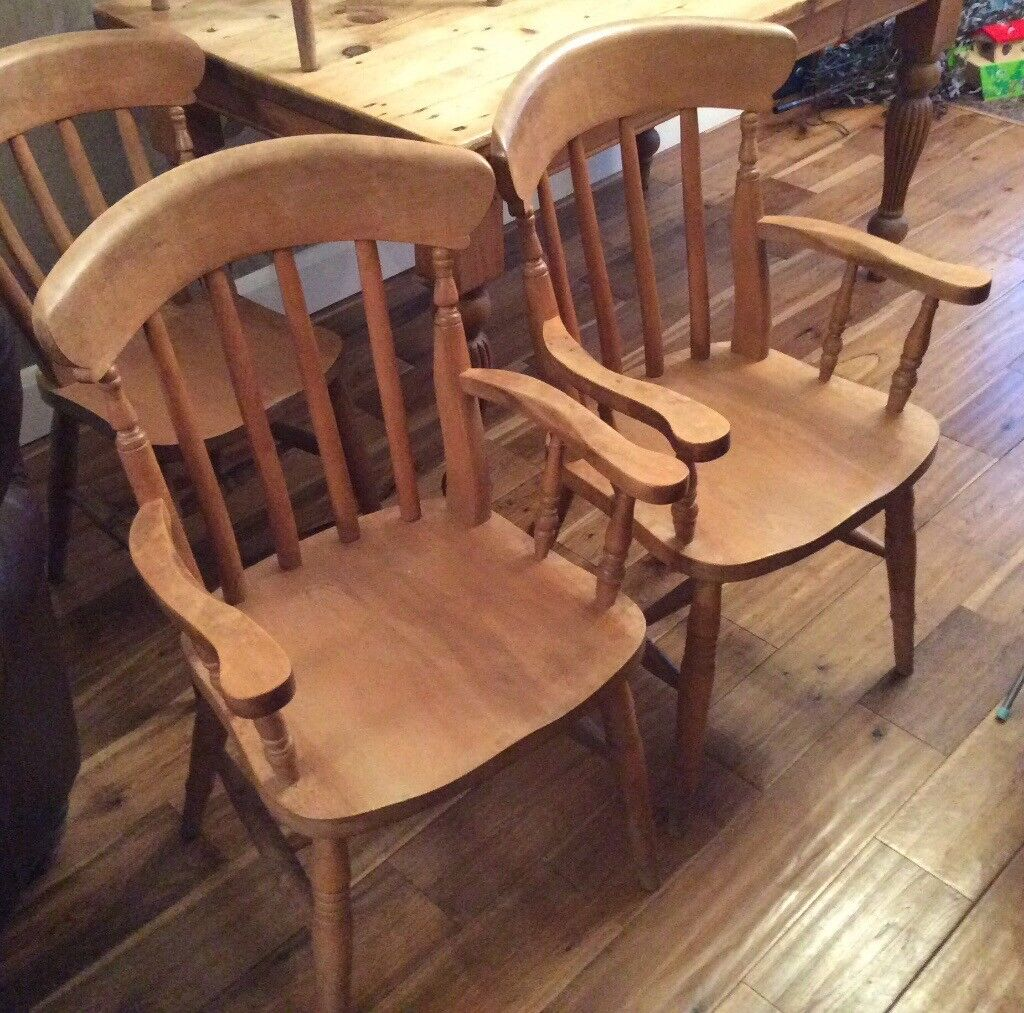 Beechwood carver dining chairs