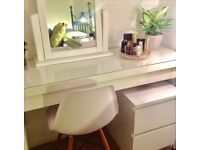 White Ikea Malm dressing table/ study desk/ make up table