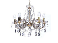 Marie Therese Style Chandelier With Acrylic Arms, Glass Droplets & Sconces Finished in Gold Finish