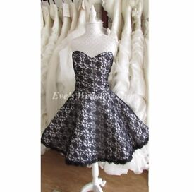 Beautiful short black/white wedding dress 16/18