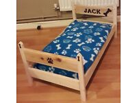 Personalised wooden dog bed