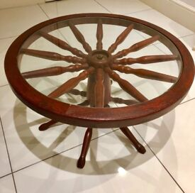Vintage Wood Ships Wheel Cartwheel Glass Top Revolving Spin Coffee Table