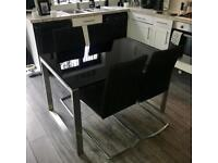 Black Smoked Glass Dining Room Table + 4 Chairs