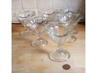 6x Large Vintage Clear Fluted Desserts Sundae Ice Cream Knickerbocker Glasses 50s Diner Style