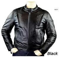 Men's Vented Leather Motorcycle Jacket with CE Armor 3XL