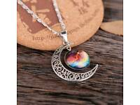 Silver plated moon and glass galaxy cabachon pendant necklace