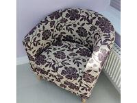 FLORAL Fabric TUB CHAIR