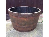 Oak Half Barrel 26'' Planter for Gardens, Lawns, Patios, Decking