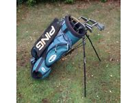 PING GOLF CLUBS AND STAND BAG