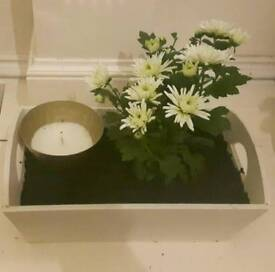 Beautiful hand painted, chrysanthemum box planter with decorative candle