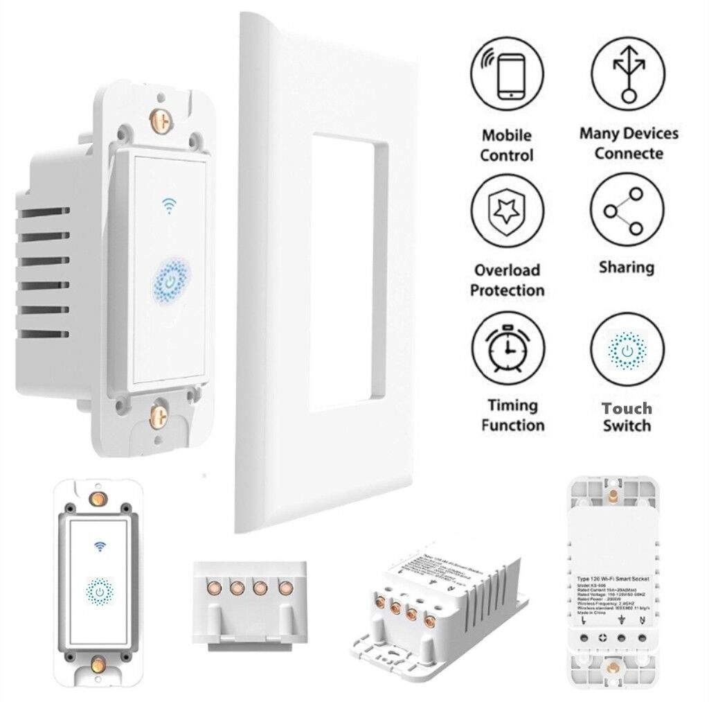 как выглядит 2X Nexete Smart Light Switch WiFi In-Wall Remote Alexa Google Smart Life app фото