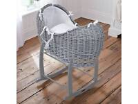 Grey Moses basket with mattress and rocking stand