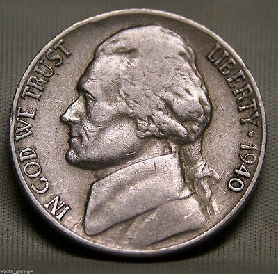1940 Jefferson Nickel (1940 D Jefferson Nickel, Nice, Circulated, Low Mintage of 43.5 Mil, Ship)