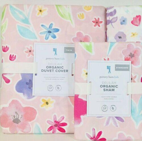 NEW Pottery Barn Kids Organic Delilah Twin Duvet Cover & Std Sham, Flowers, Pink