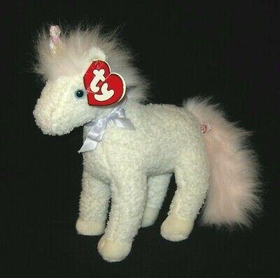 TY Classic Plush Sparkles the Unicorn Beanie Baby Buddies White Pink Mane