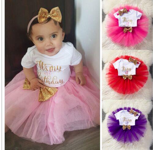 Baby Mädchen 1. Erster Geburtstag Kleid Strampler Tüllrock Stirnband Kuchen Sets