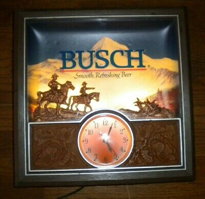 "Busch Beer Lighted Clock 13"" x 13"" x 4"" Vintage"