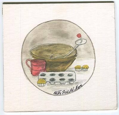 FOLK ART PRIMITIVE KITCHEN CUPCAKES MIXER WHISK COOK VIRGINIA W/C ART PAINTING