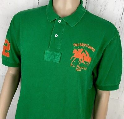 Vintage Polo Ralph Lauren Shirt Big DUAL PONY RL CLUB 1967 Stadium P-Wing XL Gre