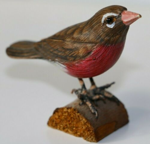 American ROBIN Original HAND CRAFTED Red BIRD WOOD CARVING ART SCULPTURE 🌟🌟
