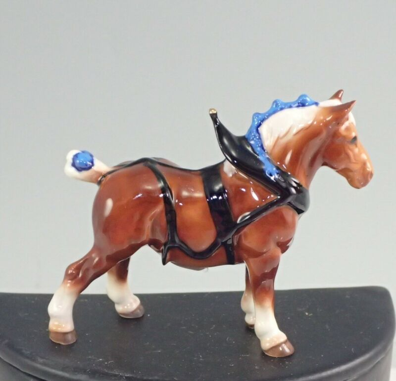 Hagen-Renaker No. 341 Miniature Brown Draft With Harness Horse Figurine On Base