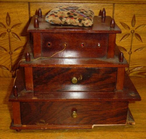 Antique Wood Sewing Box - AS IS