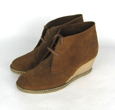 Used, J CREW Macalister Womens 10 Brown Suede Wedge Booties Italy for sale  San Francisco