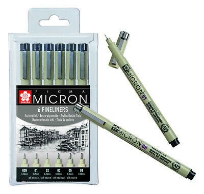 Sakura Pigma Micron Pens - Fineliner Drawing Pen  Black Archival Ink - Set of 6
