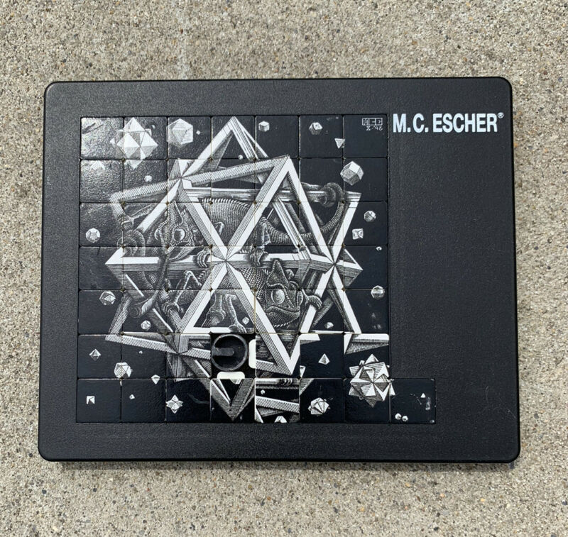 "VTG M.C. Escher Sliding Puzzle ""Stars"" 1948 Made by PUSSYCAT Germany 49 Tiles"
