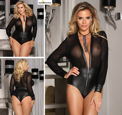 PLUS SIZE DESSOUS | Black V-neck Zipper Leather Teddy | XS-4XL R80594