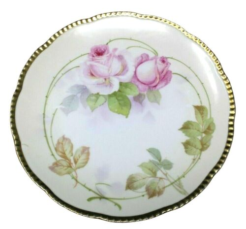 """PRUSSIA ROYAL RUDOLSTADT HAND PAINTED PLATE """"B"""" ROSES GOLD TRIM 8 1/2"""""""