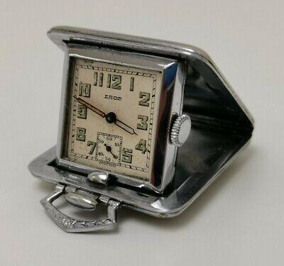 1930s Handbags and Purses Fashion Vintage 1930s Eros Art Deco 15 Jewels Nickel Pocket Purse Folding Travel Watch $156.84 AT vintagedancer.com