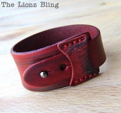 Distressed Leather Wrap Bracelet (Urban Retro Distressed Red Tapered Genuine Leather Wrap Bracelet )