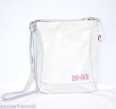 Kristine Gray Ivory Cross Body Schoulder Bag Purse Faux Leather Live by Faith ()