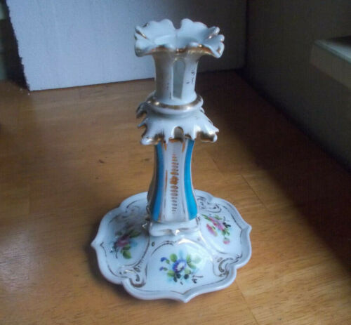 ANTIQUE 1800s ORNATE PORCELAIN DRESDEN TYPE CANDLESTICK HOLDER HAND PAINTED