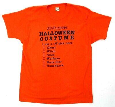 Screen Stars Vtg 80s Men's L Large Orange T Shirt Halloween Costume SS Crew EUC