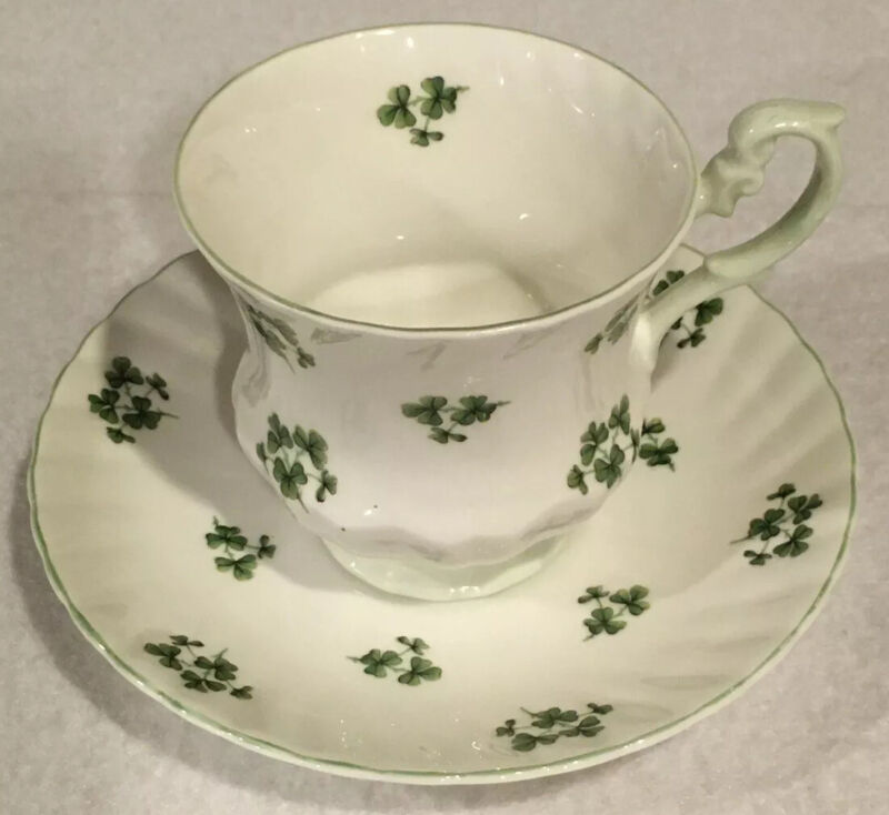 Queens Rosina White with Green Shamrocks Clovers Tea Cup And Saucer