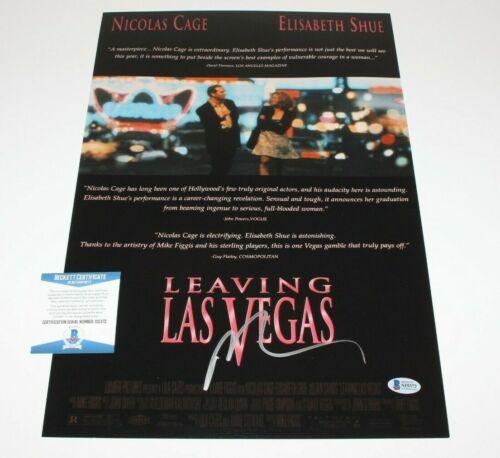 ACTOR NICOLAS CAGE SIGNED 'LEAVING LAS VEGAS' 12x18 MOVIE POSTER BECKETT COA