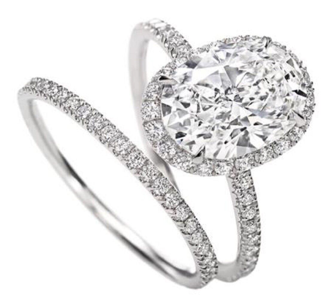 Natural 1.95 Ct Halo Oval Cut Halo Diamond Engagement Ring G VS2 GIA Platinum 1