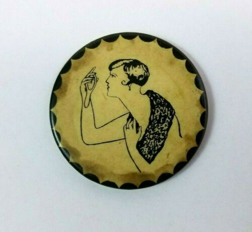 1920s ART DECO Pocket Mirror RISQUE Hidden Flapper Sex MASTURBATION Rare Button