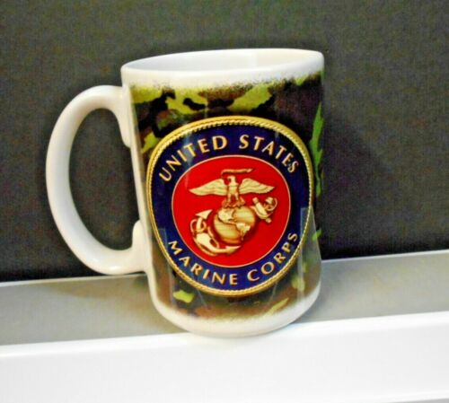 UNITED STATES MARINE CORPS COFFEE CUP WITH CREST AND CAMO GRAPHIC NEW