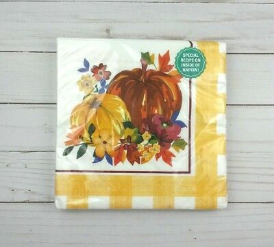 Oversized Paper Lunch Napkins 20 ct Party Thanksgiving Fall Pumpkin Gingham (Gingham Paper Napkins)